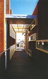 """Looking along the entry verandah with its """"civic"""" colonnade."""