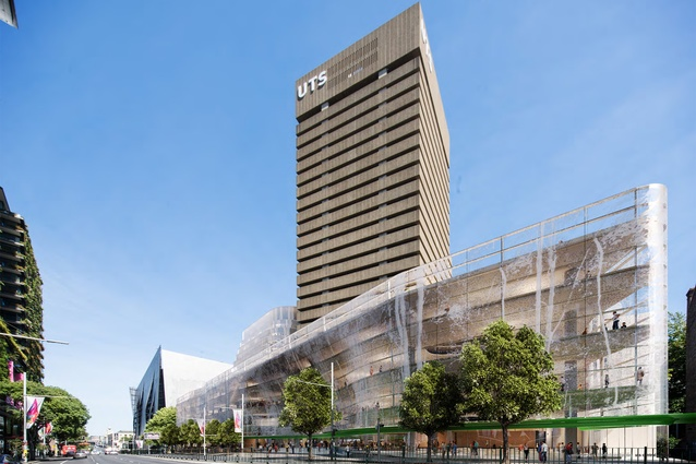 The proposed UTS Building 2 will be integrated with a new podium extension for Buildings 1 and 2.