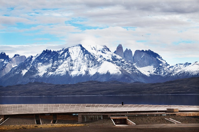 Hotel Tierra Patagonia is located on the shore of Lake Sarmiento, at the foothills of Chile's Paine Massif mountain range.