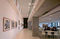 Students' work is displayed in a gallery space along the length of the dining hall.