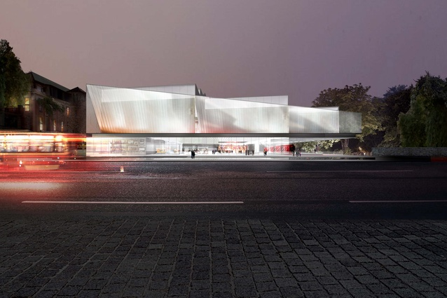 A night time view of the winning proposal for Adelaide Contemporary by Diller Scofidio and Renfro and Woods Bagot.