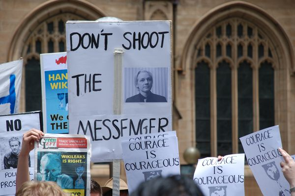 A protest held in support of Assange in Sydney in 2010.