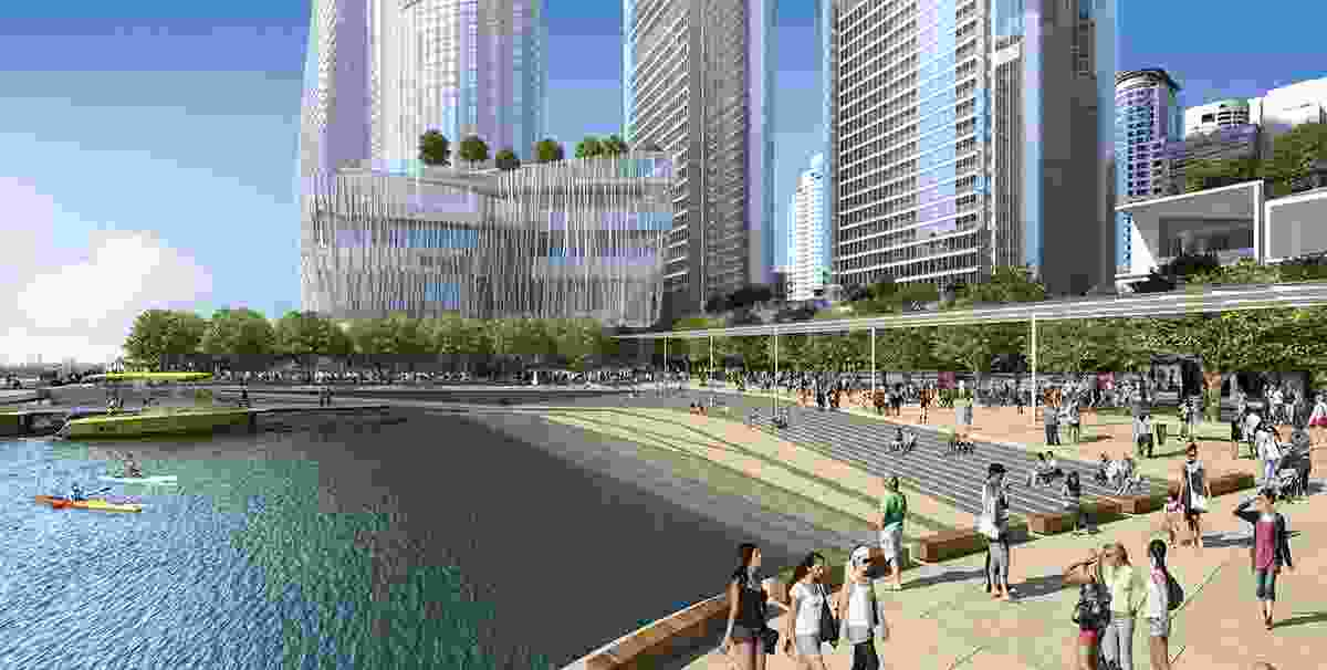 The proposed harbour cove at Barangaroo South.