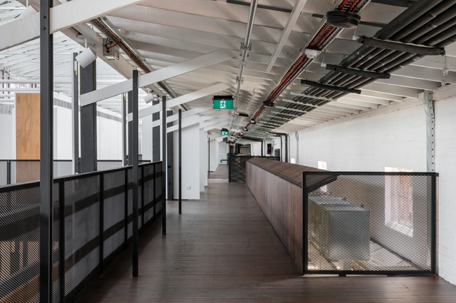 The mezzanine of the refurbished former police stables by Kerstin Thompson Architects.