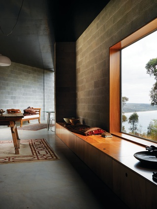 Concrete block and timber interior of Big Hill by Kerstin Thompson Architects.
