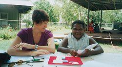 Deborah Fisher and Simon Scally conducting design consultation at Daguragu with Queeny Bernard. Photographs Deborah Fisher and Simon Scally