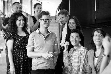 2013 Australian Interior Design Awards jury. Back row, from left: Paul Brace, Joanne Cys, Steve Woodland, Miriam Fanning.  Front row, from left: Christina Waterson, Matt Gibson, Will Fung, Heidi Stowers. Not pictured are John Gertsakis and Kirsten Stanisich.