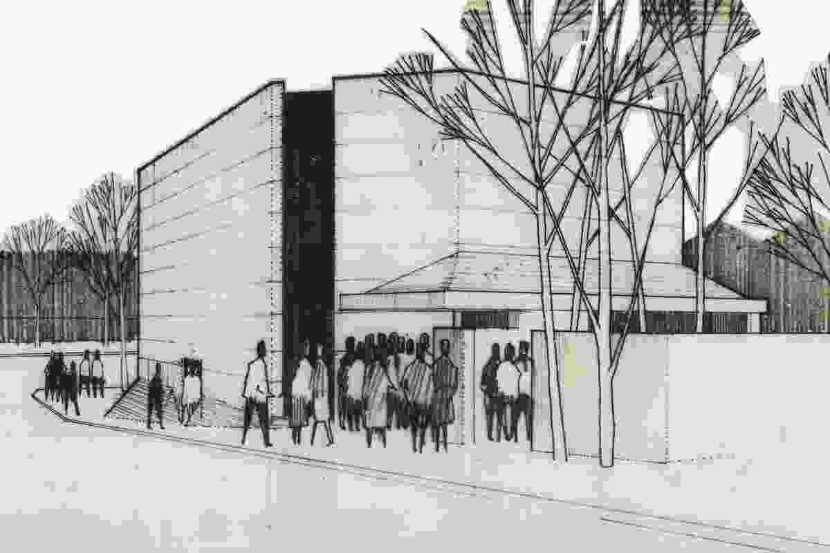Architectural drawing of La Boite Theatre, Petrie Terrace, c. 1972, by Wilson Architects.