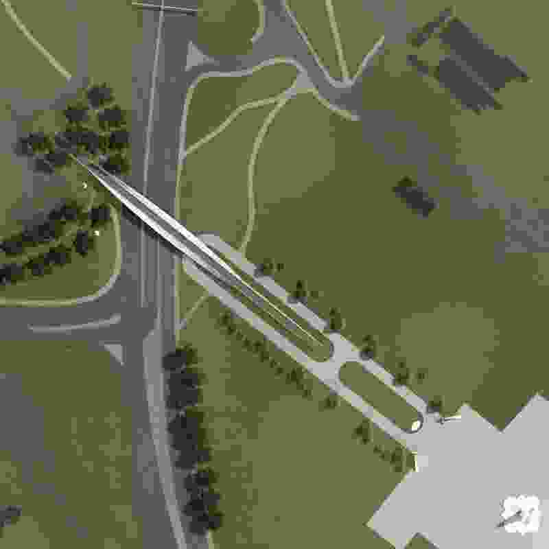 Site plan of the proposed Tasman Highway Memorial Bridge by Denton Corker Marshall.