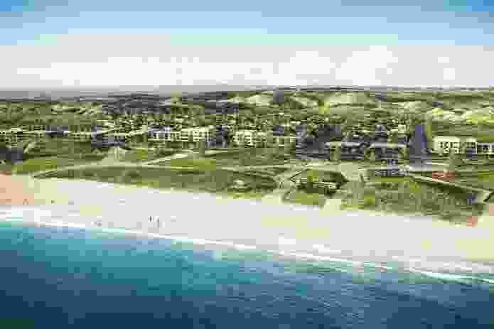 Artist's impression of Alkmios Beach, WA, looking east from the beach village.