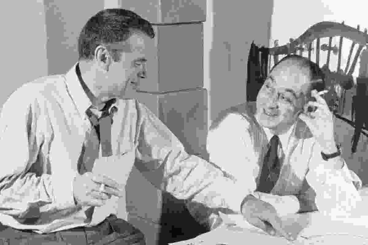 George Nelson (right) with Charles Eames.