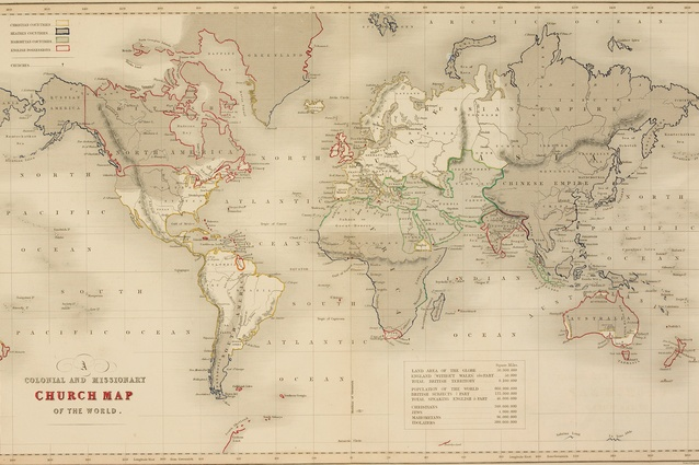 """The Church of England's world map from 1843 delineating its colonies and Christian and """"Heathen"""" territories."""