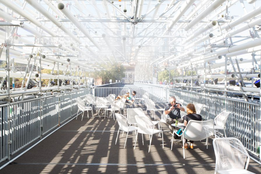 The Immersery. Misters create the feeling of being being inside a cloud on the top level lounge above Sandridge Bridge.