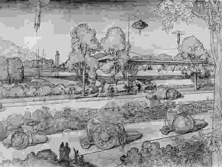 Frank Lloyd Wright sketch of Broadacre City.