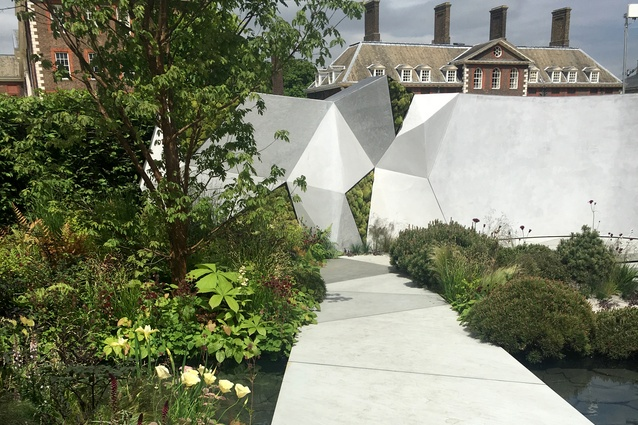 The Jeremy Vine Texture Garden by Matt Keightley with its geometric concrete forms in views framed by dwarf <i>Pinus mugo</i>.