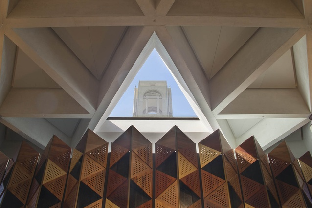 A triangular oculus in the Sir John Monash Centre by Cox Architecture with Williams, Abrahams and Lampros provides a view back to the original Australian National Memorial by Edwin Lutyens.