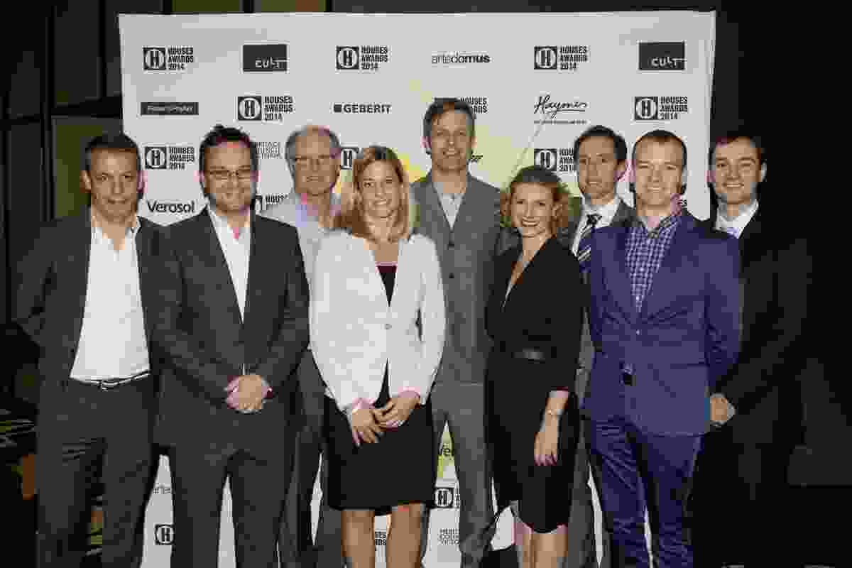 Houses Awards supporting partners, L–R: Richard Munao (Cult), Tim Haymes (Haymes Paint), Jim Norris (Heritage Council of Victoria), Nora Prager Stumpf (Geberit), Phil Brenton (Artedomus), Elizabeth McIntyre (Think Brick), Charlie McDonald (Fisher & Paykel), James Grant (AILA NSW Chapter), and Anthony Adamo (Verosol).