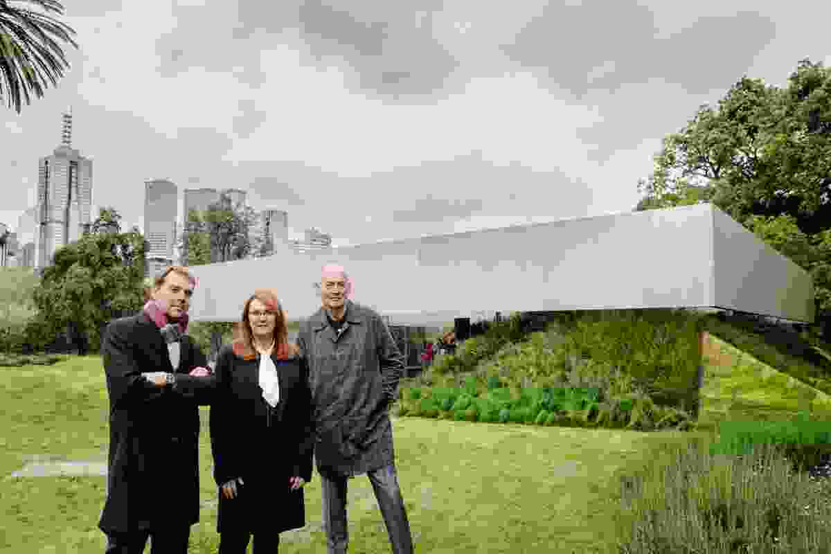 David Gianotten (left) Naomi Milgrom (centre) and Rem Koolhaas (right).