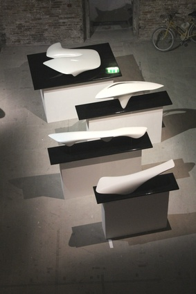 Massing of Zaha Hadid built works formed by white polymer paint.