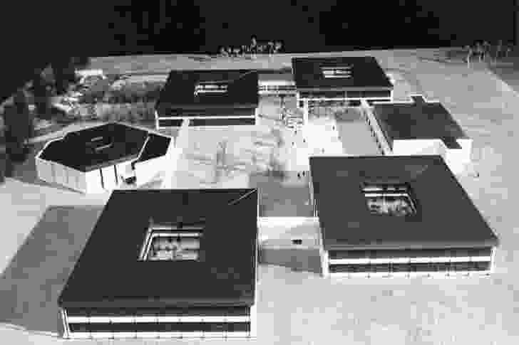 Undated photograph of a model of the doughnut schools designed by Michael Dysart, NSW Government Architect's Branch.