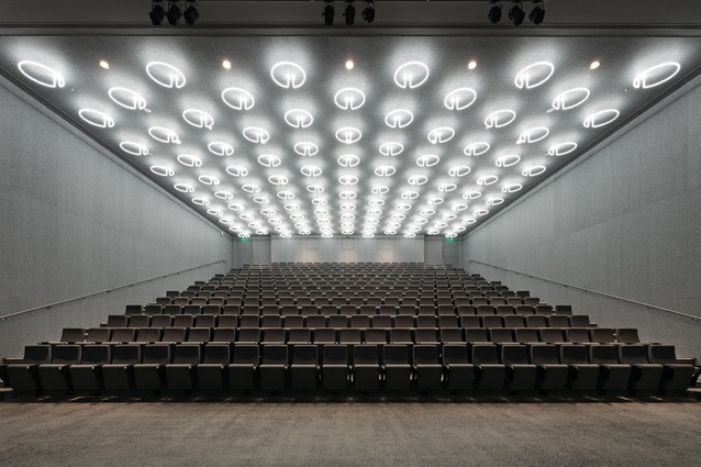 The lecture theatre's fluorescent lights demonstrate the power of light.