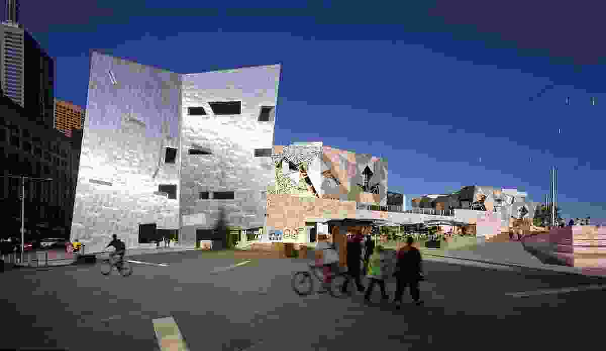 Pink-hued sandstone topography evokes the Australian desert; bold signage-free architectural forms embrace the public.