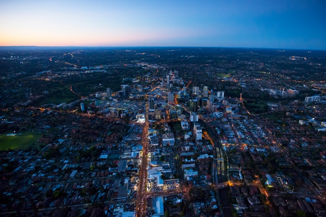Night time aerial view of Parramatta.