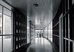 Interior of the curved walkway at Women's College, University of Queensland.Women's College Archive.