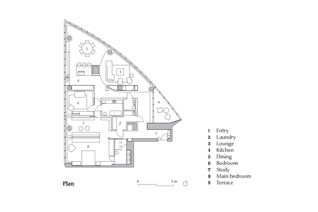 Plan of Freshwater Apartment designed by John Wardle Architects.