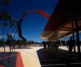 Exiting the museum, under the looping canopy, towards the carpark. The AIATSIS building is seen in the distance