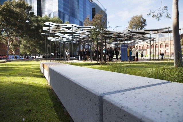 AL_A's 2015 MPavilion at its permanent home in Docklands Park, designed by landscape architecture firm MALA.