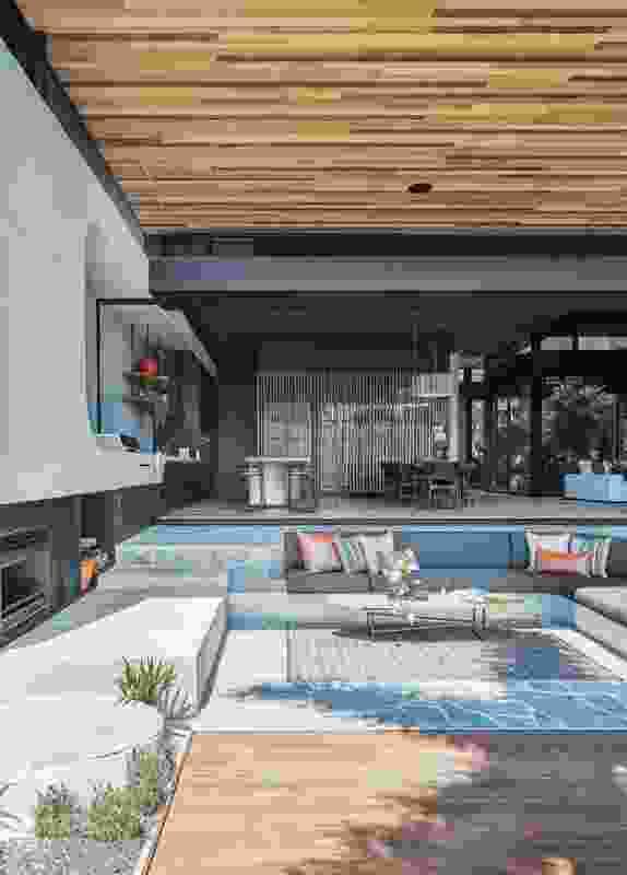 In order to zone rooms within the open areas of the home, individual spaces are sculpted using height and volume changes.