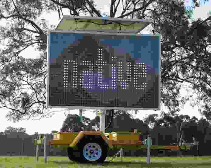 r e a, details of Native (2013), LED sign, Sites of Experimentation, commissioned by Blacktown Arts on behalf of Blacktown City Council, 2013.