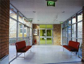 Internal view of the link between the new and old buildings.Image: Brett Boardman