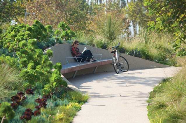 According to Treib, the focus of the planted mounds at Tongva Park in Los Angeles by James Corner Field Operations was on providing sculptural elements rather than useable space.