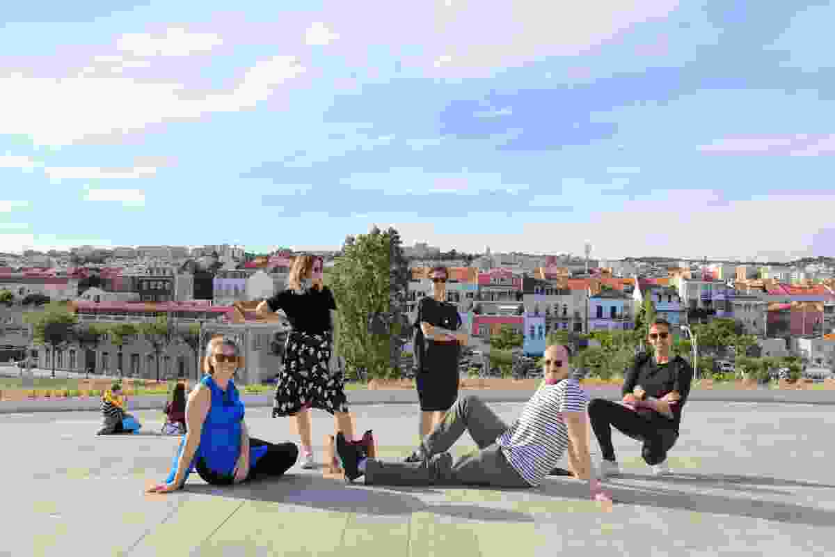 The 2019 Dulux Study Tour winners at the top of MAAT. L–R: Carly McMahon, Alix Smith, Jennifer McMaster, Phillip Nielsen and Ben Peake.