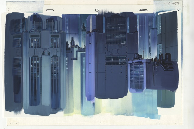 Background for <i>Ghost in the Shell</i> (1995), cut 477. Gouache on paper and acrylic on transparent film, 270 × 390 mm. Illustrator: Hiromasa Ogura.