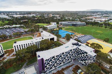 Four new halls of residence have recently been built at Monash University's outer-suburban Melbourne Clayton campus.