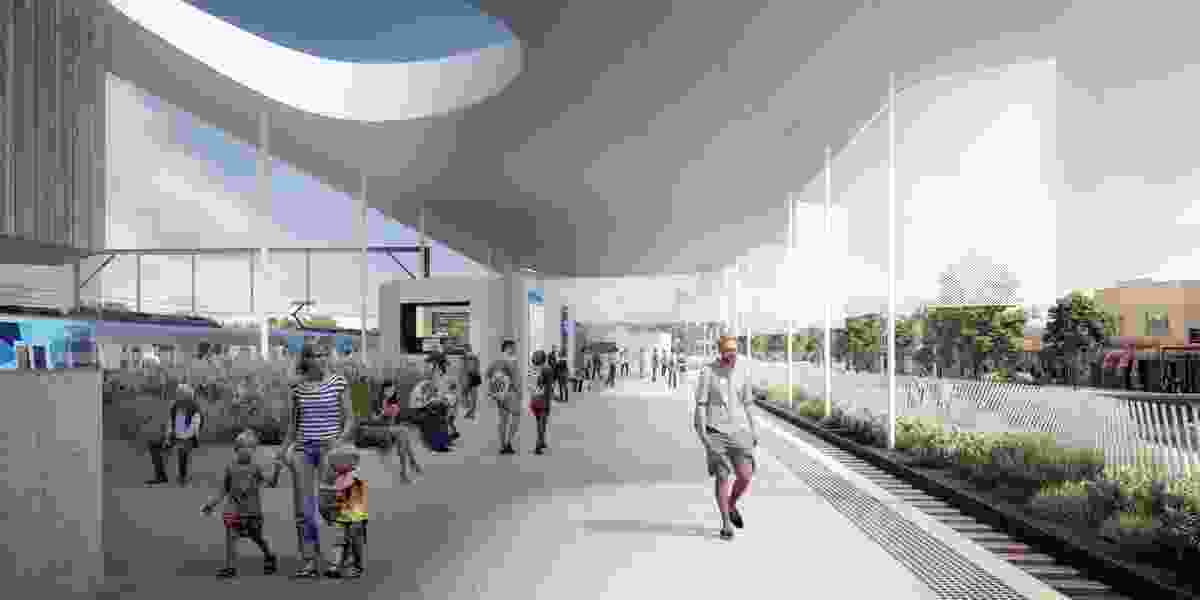 The orignal competition-winning design for Frankston Railway Station by Genton Architecture features a large circular opening above the main ticketing area.
