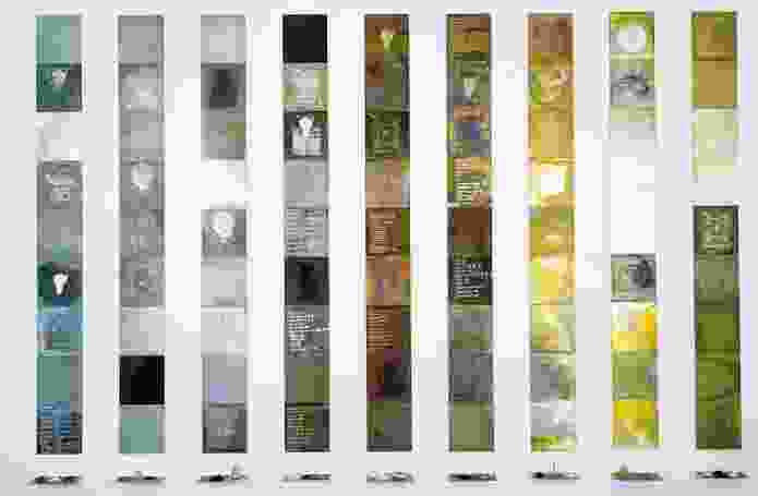 Janet Laurence, Solids by Weight, Liquids by Measure (alchemical plates from the Periodic Table series), 1993.