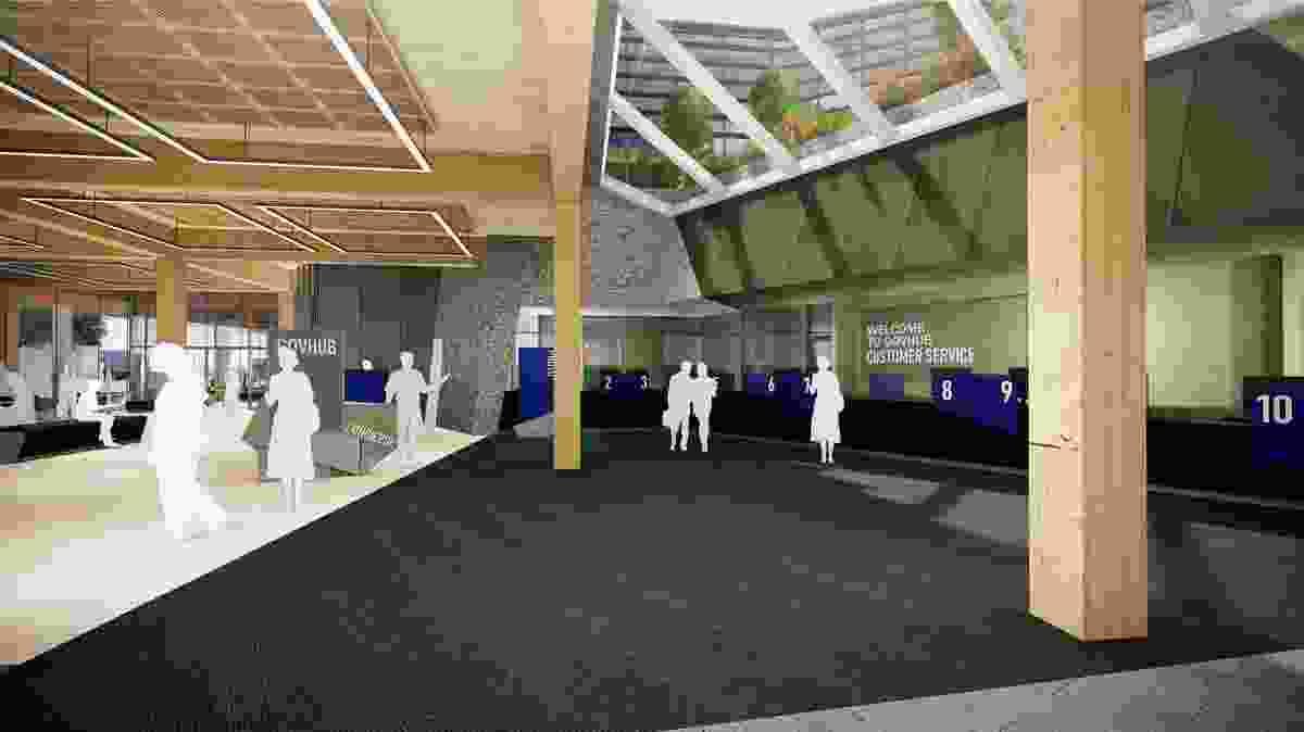 The ground floor customer service area of Bendigo Govhub by Lyons Architects.