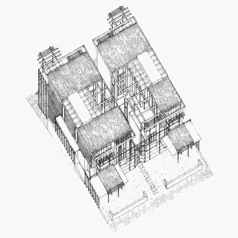 Axonometric drawing of Moreton Bay Houses.