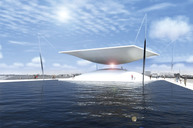 Solar Hourglass by Santiago Muros Cortés, winner of LAGI 2014 Copenhagen. Energy technologies: concentrated solar power (thermal beam-down tower with heliostats). Annual capacity: 7,500 MWh.