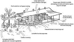 Drawing by Simon Scally of houses designed by Build Up Design and built in Arnhem Land outstations for the Bawinanga Aboriginal Corporation.