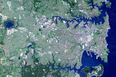 Satellite photograph of Sydney.