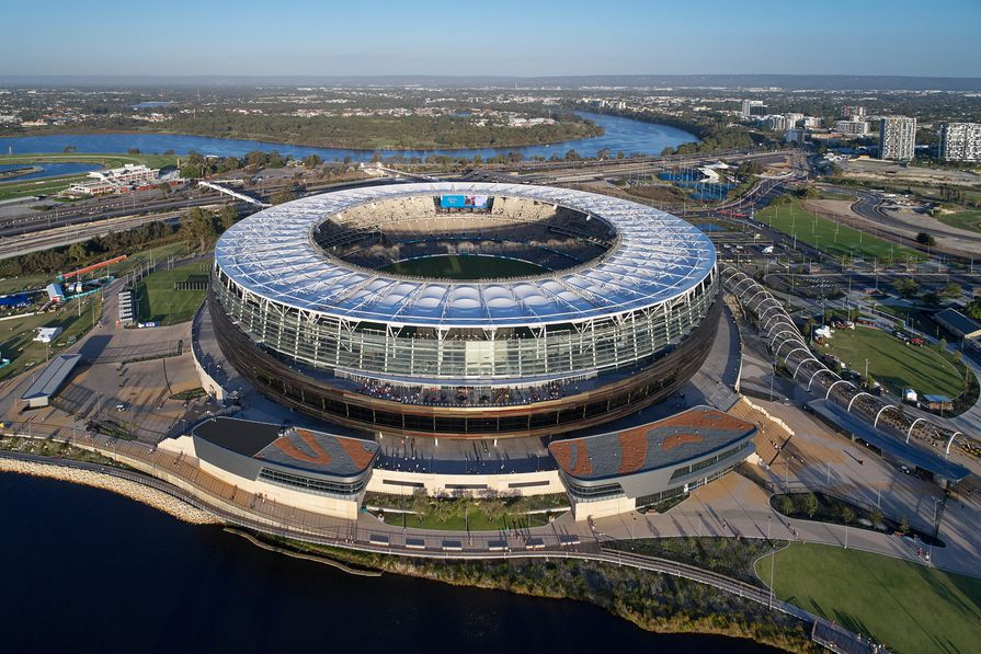 Optus Stadium by Hassell, Cox and HKS.