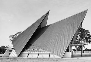 Muir and Shepherd's design features distinctive triangular roof forms constructed using a series of prefabricated steel portal A-frames.