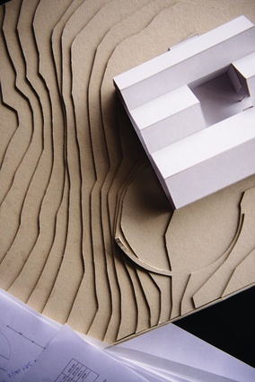 Lookout House (2013): A model shows the three gable roof extrusions.