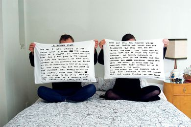A Bedtime Story pillowcases – part of a collaboration with David Shrigley.