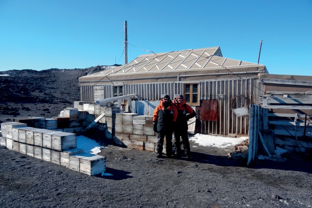 Hugh Broughton and Steven Middleton outside Ernest Shackleton's Hut, Cape Royds, Antarctica, which was fully restored between 2004 and 2008 by the Antarctic Heritage Trust.